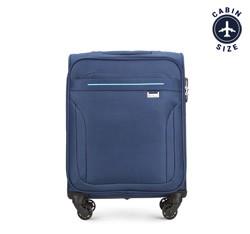 Тканевой чемодан ручная кладь с вставками, темно-синий, V25-3S-261-90, Фотография 1