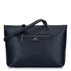 Классическая кожаная сумка-шоппер, темно-синий, 29-4E-009-N, Фотография 1