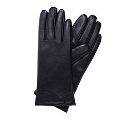 Классические женские  кожаные перчатки, темно-синий, 39-6-542-GC-S, Фотография 1