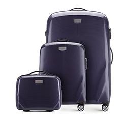 Комплект (Ручная кладь + большой чемодан + косметичка), темно-синий, 56-3P-571_3_4-90, Фотография 1