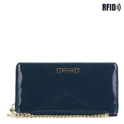 Женский кожаный лакированный кошелек на цепочке, темно-синий, 26-1L-427-N, Фотография 1