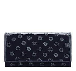 Женский кожаный лакированный кошелек с монограммой, темно-синий, 34-1-052-NS, Фотография 1