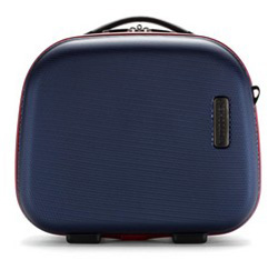 Дорожная  косметичка из ABS - пластика с контрастной молнией, темно-синий, 56-3A-614-90, Фотография 1