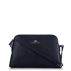Женская сумка через плечо из кожи трапециевидной формы, темно-синий, 29-4E-006-N, Фотография 1