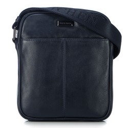 Мужская кожаная сумка через плечо с карманом, темно-синий, 91-4U-311-7, Фотография 1