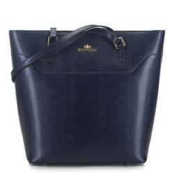 Кожаная сумка-шоппер, темно-синий, 91-4-700-7, Фотография 1