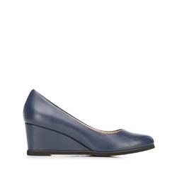Кожаные гладкие туфли на танкетке, темно-синий, 92-D-951-7-41, Фотография 1