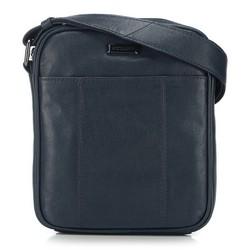 Мужская кожаная сумка с открытым карманом, темно-синий, 91-4U-316-7, Фотография 1