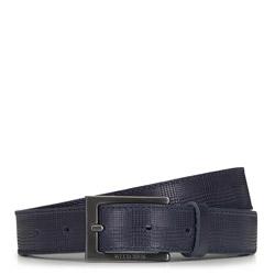 Мужской кожаный ремень с прямоугольной пряжкой, темно-синий, 91-8M-312-7-13, Фотография 1