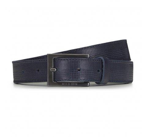 Мужской кожаный ремень с прямоугольной пряжкой, темно-синий, 91-8M-312-7-90, Фотография 1