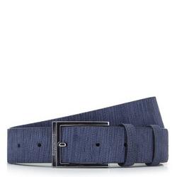 Мужской кожаный велюровый ремень с тиснением, темно-синий, 92-8M-365-7-11, Фотография 1