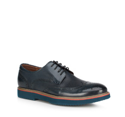 Мужские кожаные броги на контрастной подошве, темно-синий, 89-M-916-7-44, Фотография 1