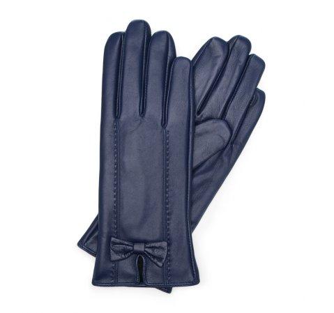 Женские кожаные перчатки с бантом, темно-синий, 39-6-536-BB-X, Фотография 1