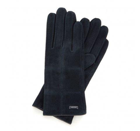 Женские замшевые перчатки с строчкой, темно-синий, 44-6-912-2T-S, Фотография 1