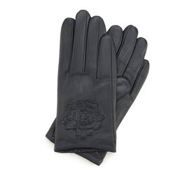 Женские кожаные перчатки с тисненой розой, темно-синий, 45-6-523-GC-L, Фотография 1