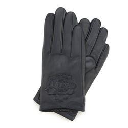 Женские кожаные перчатки с тисненой розой, темно-синий, 45-6-523-GC-M, Фотография 1