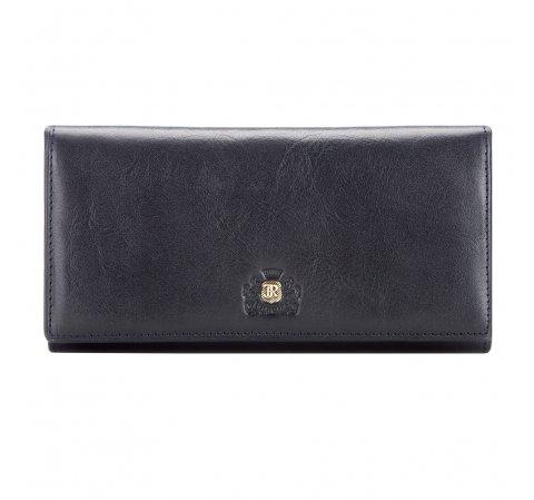 Женский большой кожаный кошелек с  гербом, темно-синий, 10-1-075-1, Фотография 1