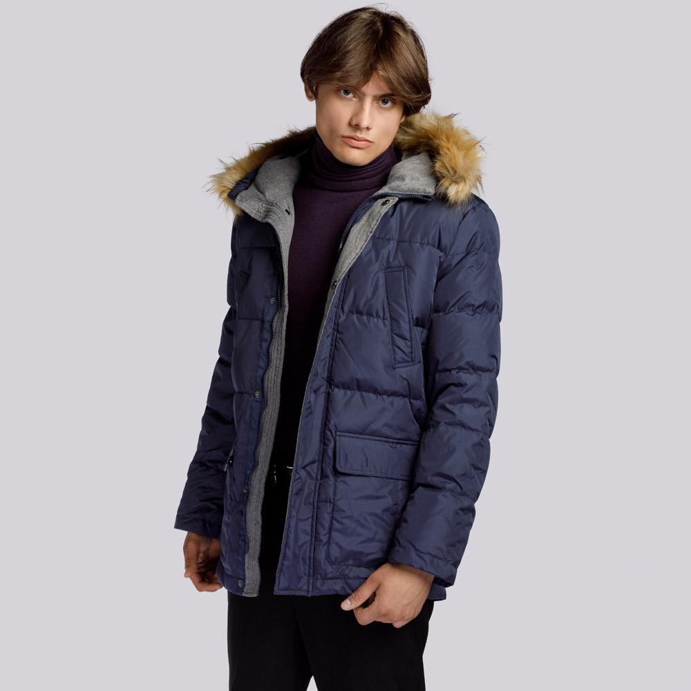 Мужская пуховая куртка с капюшоном, темно-синий, 91-9D-450-7-S, Фотография 1