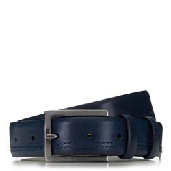 Мужской кожаный ремень с строчкой, темно-синий, 91-8M-326-7-11, Фотография 1