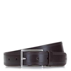 Ремень мужской кожаный с перфорированными краями, коричневый, 92-8M-360-4-10, Фотография 1