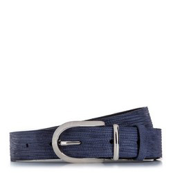 Женский фактурный велюровый ремень, темно-синий, 92-8D-310-7-XL, Фотография 1