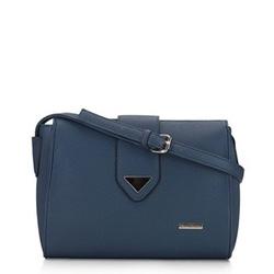 Женская сумка через плечо с треугольной деталью, темно-синий, 91-4Y-704-7, Фотография 1