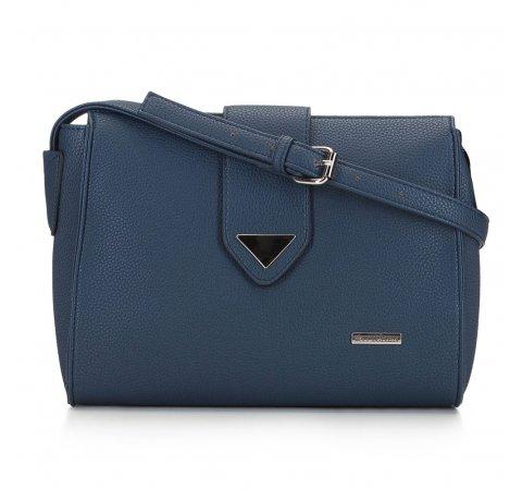 Женская сумка через плечо с треугольной деталью, темно-синий, 91-4Y-704-1, Фотография 1
