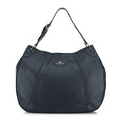 Закругленная кожаная сумка, темно-синий, 91-4E-314-7, Фотография 1