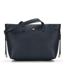Кожаная сумка-шоппер с декоративными ремешками, темно-синий, 89-4-515-7, Фотография 1