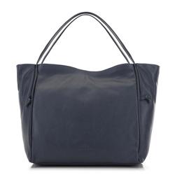 Кожаная сумка-шоппер с декоративными узлами, темно-синий, 91-4E-304-7, Фотография 1