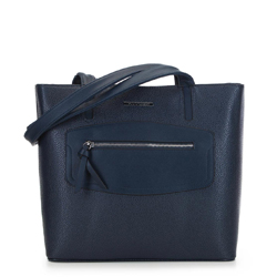 Сумка-шоппер с декоративной вставкой, темно-синий, 91-4Y-200-7, Фотография 1