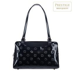 Кожаная сумка-шоппер из лакированной кожи с карманами, темно-синий, 34-4-599-N, Фотография 1