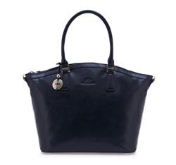 Элегантная кожаная сумка-шоппер, темно-синий, 35-4-011-7, Фотография 1