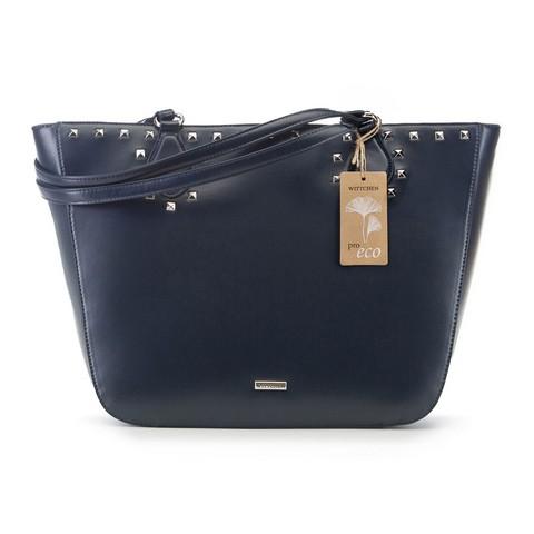 Трапециевидная сумка-шоппер из экокожи, темно-синий, 91-4Y-253-1, Фотография 1