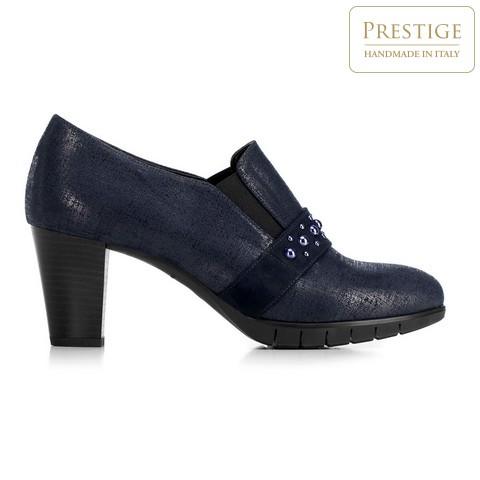 Туфли на каблуке-столбике c металлизированной отделкой, темно-синий, 92-D-653-7-38, Фотография 1