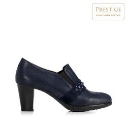 Туфли на каблуке-столбике c металлизированной отделкой, темно-синий, 92-D-653-7-37, Фотография 1