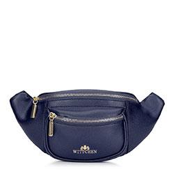 Женская кожаная  сумка на пояс с карманом, темно-синий, 92-4E-634-N, Фотография 1