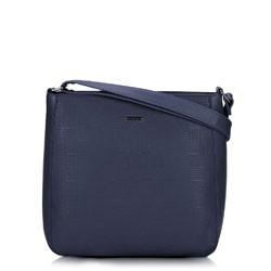Женская сумка через плечо с тиснением, темно-синий, 91-4Y-625-7, Фотография 1