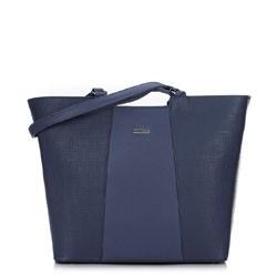 Женская сумка-шоппер с тиснением, темно-синий, 91-4Y-624-7, Фотография 1
