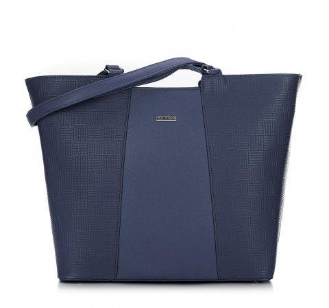 Женская сумка-шоппер с тиснением, темно-синий, 91-4Y-624-9, Фотография 1