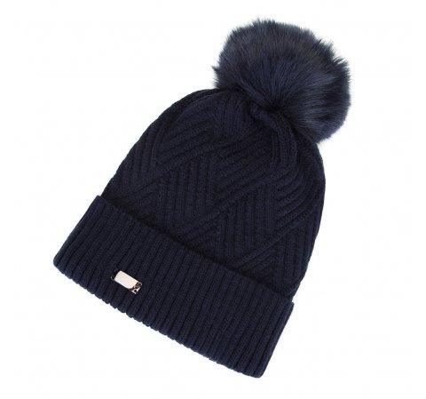 Женская шапка с клетчатым плетением с помпоном, темно-синий, 91-HF-008-7, Фотография 1