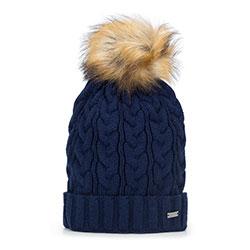 Женская шапка с крупным плетением, темно-синий, 93-HF-014-7, Фотография 1