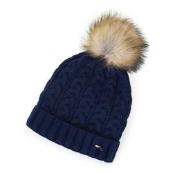 Женская плетеная шапка с помпоном, темно-синий, 91-HF-202-7, Фотография 1