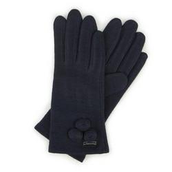 Женские шерстяные перчатки с круглыми деталями, темно-синий, 47-6-114-GC-U, Фотография 1