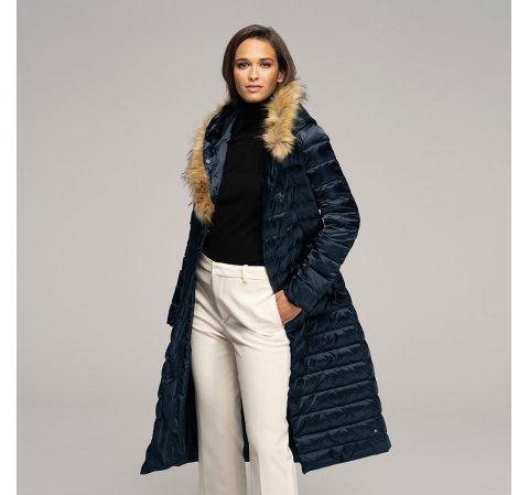 Женское пуховое пальто с капюшоном, темно-синий, 91-9D-400-7-XS, Фотография 1