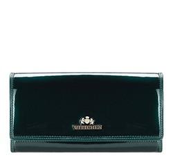 Большой женский кошелек из лакированной кожи, темно-зеленый, 25-1-052-0, Фотография 1