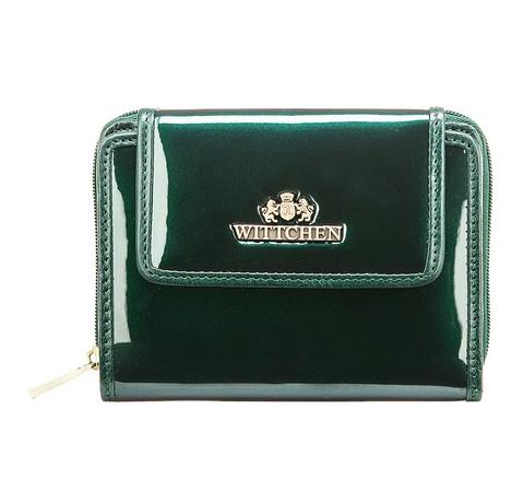 Женский кошелек из лакированной кожи, темно-зеленый, 25-1-211-TL, Фотография 1