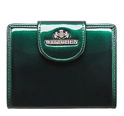 Женский кошелек из лакированной кожи с кнопкой, темно-зеленый, 25-1-362-0, Фотография 1