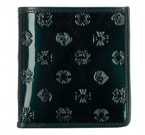 Маленький женский лакированный кошелек, темно-зеленый, 34-1-065-6S, Фотография 1