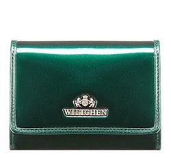 Женский кошелек из лакированной кожи среднего размера, темно-зеленый, 25-1-070-0, Фотография 1